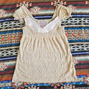 Vintage Free People gold empire waist lace top